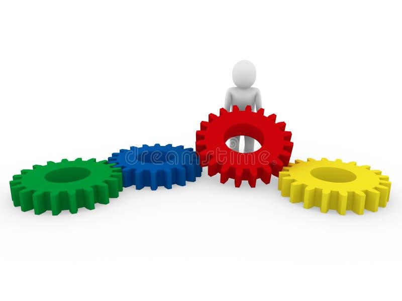 mänsklig röd yellow för blå green för kugghjul 3d vektor illustrationer