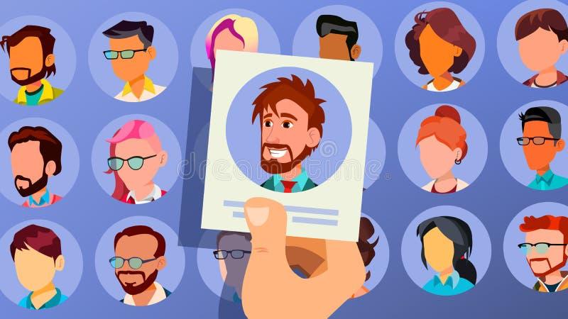 Mänsklig rekryteringvektor man Affärsman som väljs i rekrytering Välj upp individuellt uppröra för händer för affärsmanbusinesspe stock illustrationer