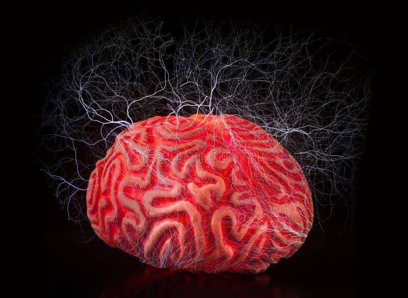 Mänsklig rubber hjärna med elektriska chocker arkivfoton