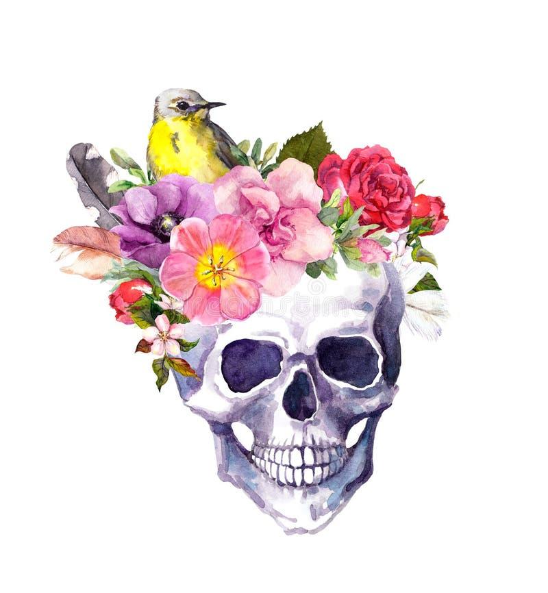 Mänsklig skalle - blommor, fågel i bohostil vattenfärg stock illustrationer