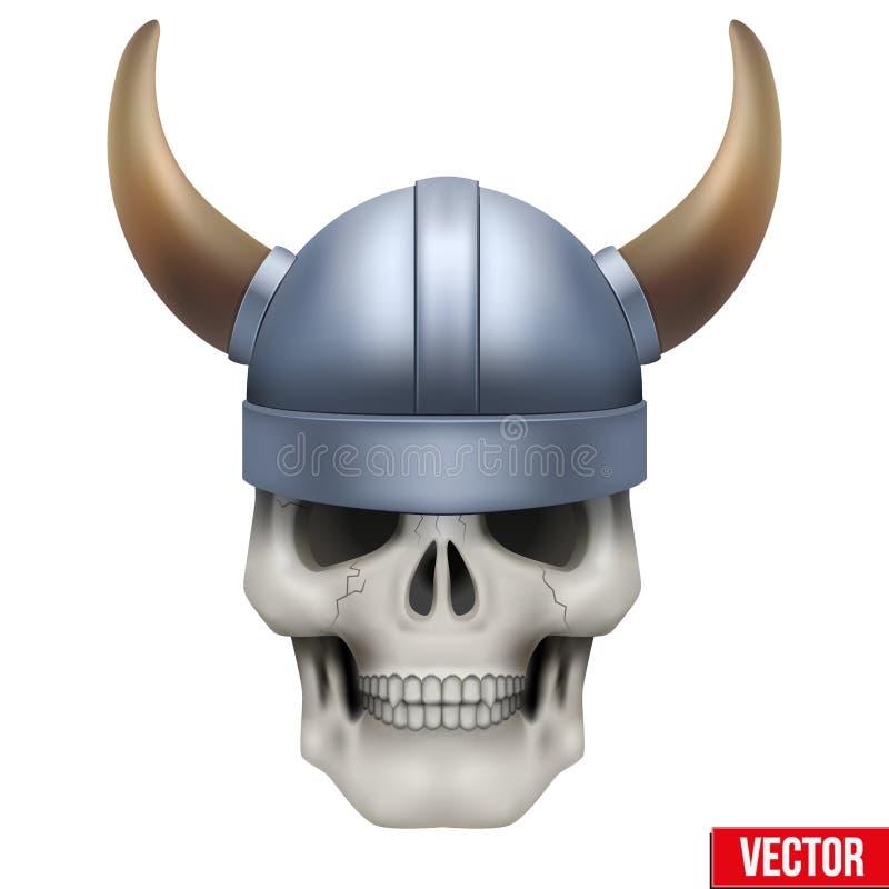 Mänsklig skalle för vektor med den viking hjälmen stock illustrationer