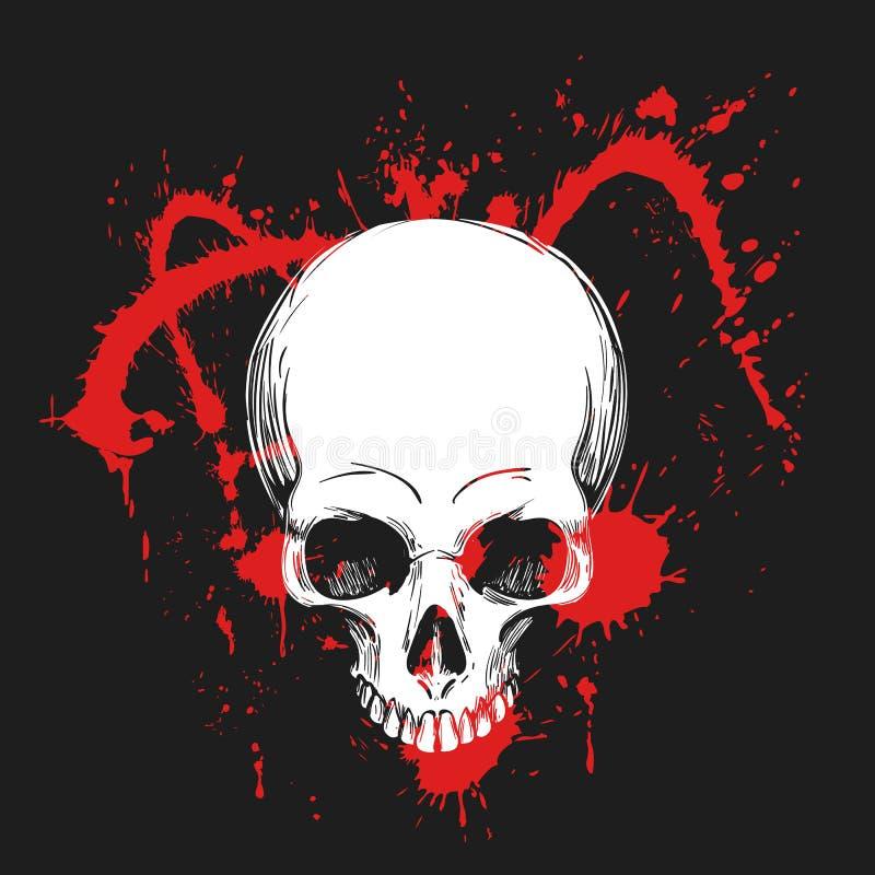 Mänsklig skalle i blodfärgstänk ocks? vektor f?r coreldrawillustration royaltyfri illustrationer