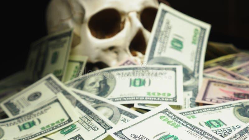 Mänsklig skalle i en hög av amerikansk valuta arkivfoton