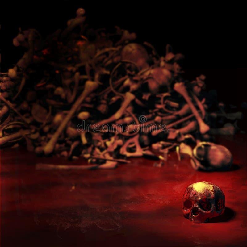 Mänsklig skalle i en pöl av blod royaltyfria bilder