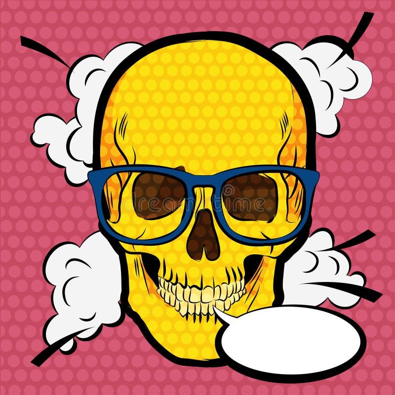 Mänsklig skalle med exponeringsglas Illustration för stil för popkonst komisk royaltyfri illustrationer