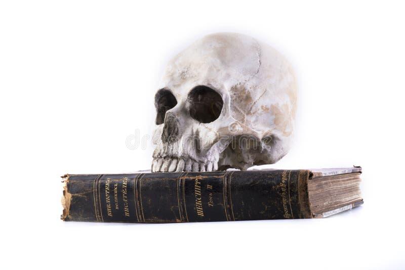 Mänsklig skalle och den isolerade boken fotografering för bildbyråer