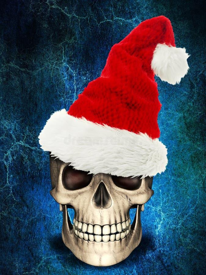 Mänsklig skalle som bär xmas eller julhatten på spöklik bakgrund arkivbild