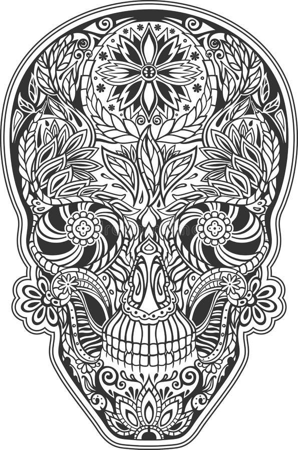 Mänsklig skalle som göras av blommor vektor illustrationer