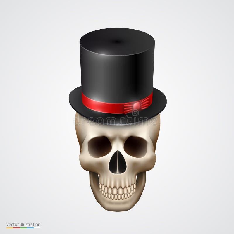 Mänsklig skalle som isoleras med hatten vektor illustrationer