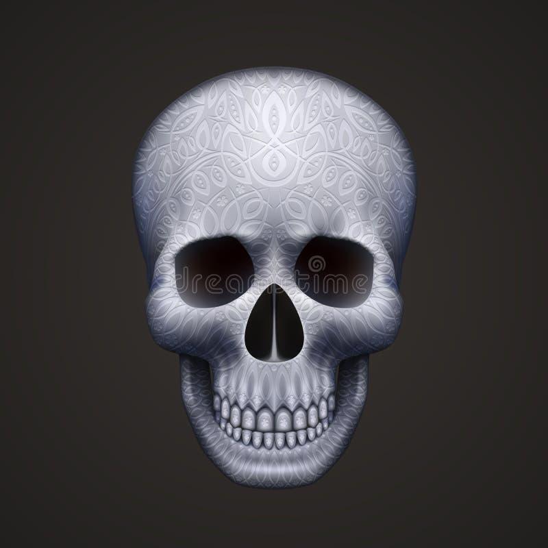 Mänsklig skalle som isoleras på svart med prydnaden stock illustrationer