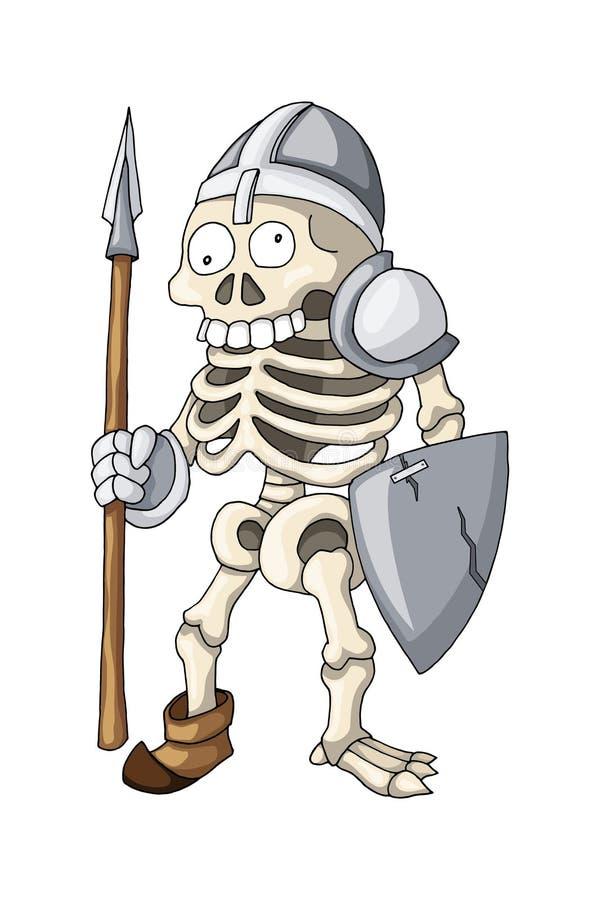 Mänsklig skelett- krigare som står med spjutet och skölden, tecknad filmtecken royaltyfri illustrationer