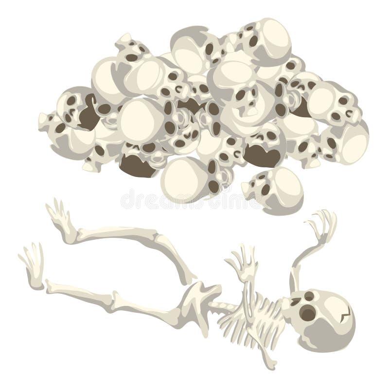 Mänsklig skelett och hög av skallar vektor stock illustrationer