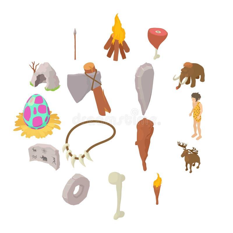 Mänsklig symbolsuppsättning för grottmänniskor, isometrisk stil stock illustrationer