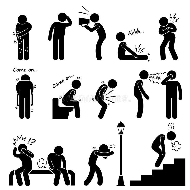 Mänsklig syndrom för tecken för sjukdomsjukdomsjukdom vektor illustrationer