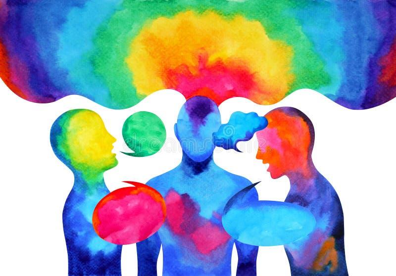 Mänsklig talande lyssnande makt av världsuniversum för geni tillsammans royaltyfri illustrationer
