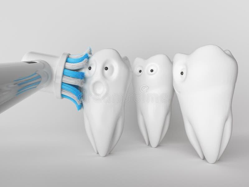 Mänsklig tecknad film för tand - tolkning 3D royaltyfria foton