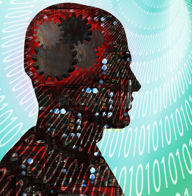 mänsklig teknologi royaltyfri illustrationer