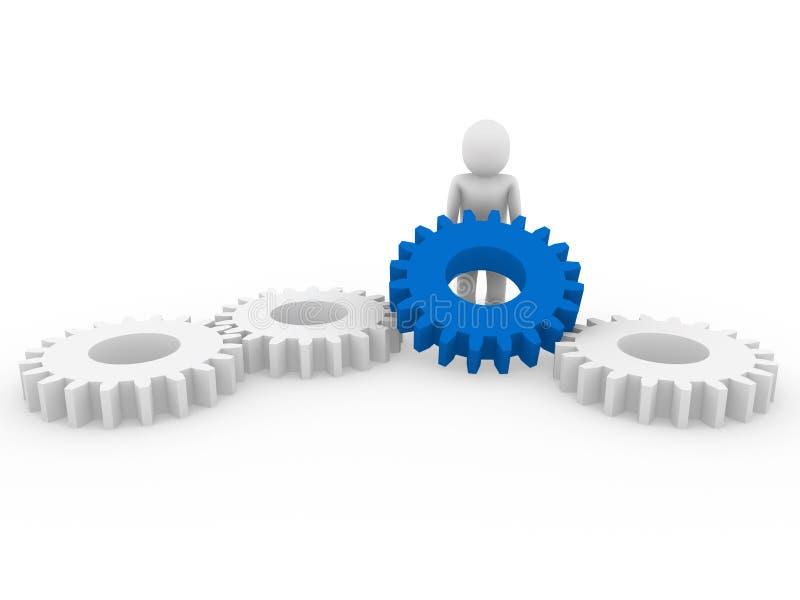 mänsklig white för blått kugghjul 3d vektor illustrationer