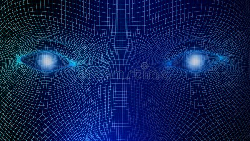 Mänskliga ögon på blå bakgrund i teknologibegreppet, wireframe royaltyfri illustrationer