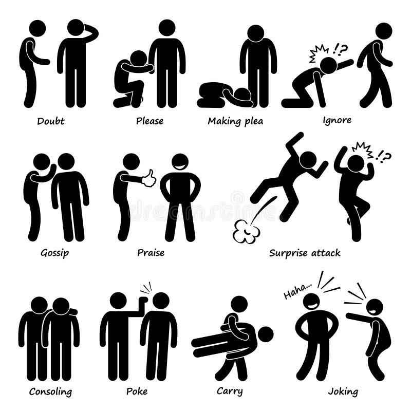 Mänskliga Cliparts för manhandlingsinnesrörelse symboler vektor illustrationer
