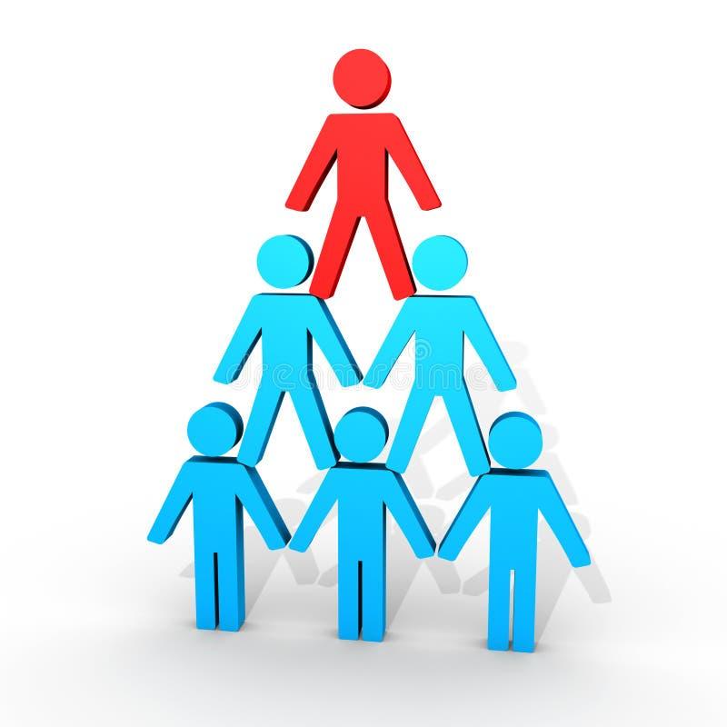 Mänskliga diagram bildar en pyramid royaltyfri illustrationer