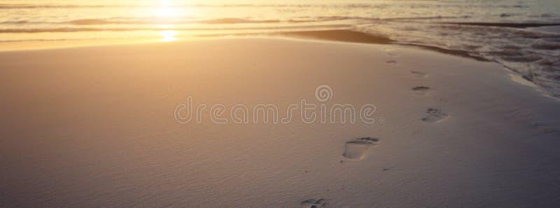 Mänskliga fotspår på strandsand arkivfoto