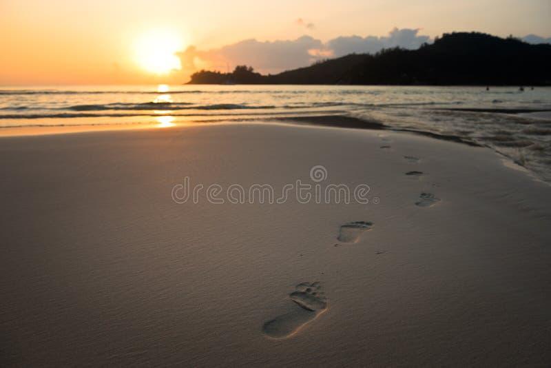 Mänskliga fotspår på strandsand arkivbilder