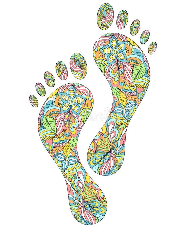 Mänskliga fotspår på vit bakgrund vektor illustrationer