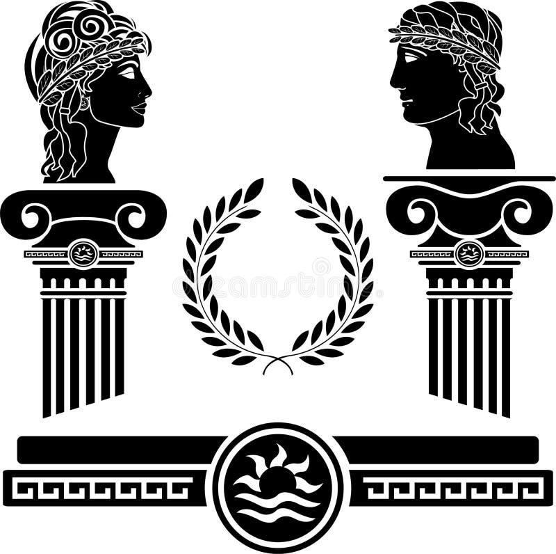 mänskliga grekiska huvud för kolonner royaltyfri illustrationer