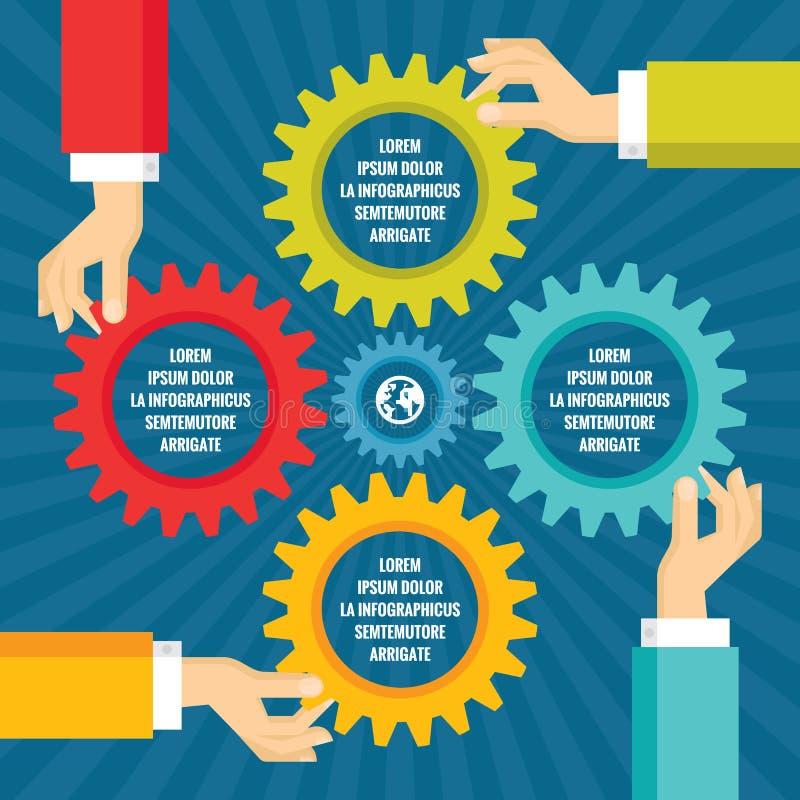 Mänskliga händer med kulöra kugghjul - infographic affärsidé - vektorbegreppsillustration i plan stildesign stock illustrationer