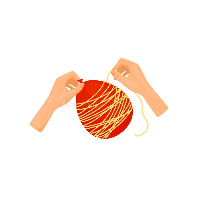 Mänskliga händer som gör ballongtrådbollen Konsthantverk Idérik hobby Plan vektorbeståndsdel för orubblig bok stock illustrationer
