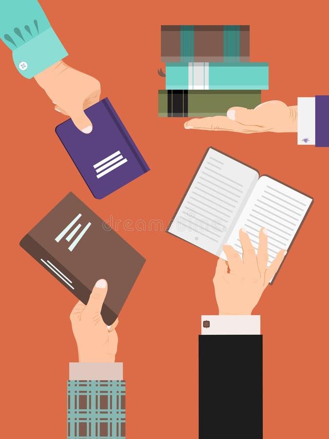 Mänskliga händer som rymmer bokbanret, affischvektorillustration L?s- folkbegrepp Utbildning och lära, vetenskap stock illustrationer
