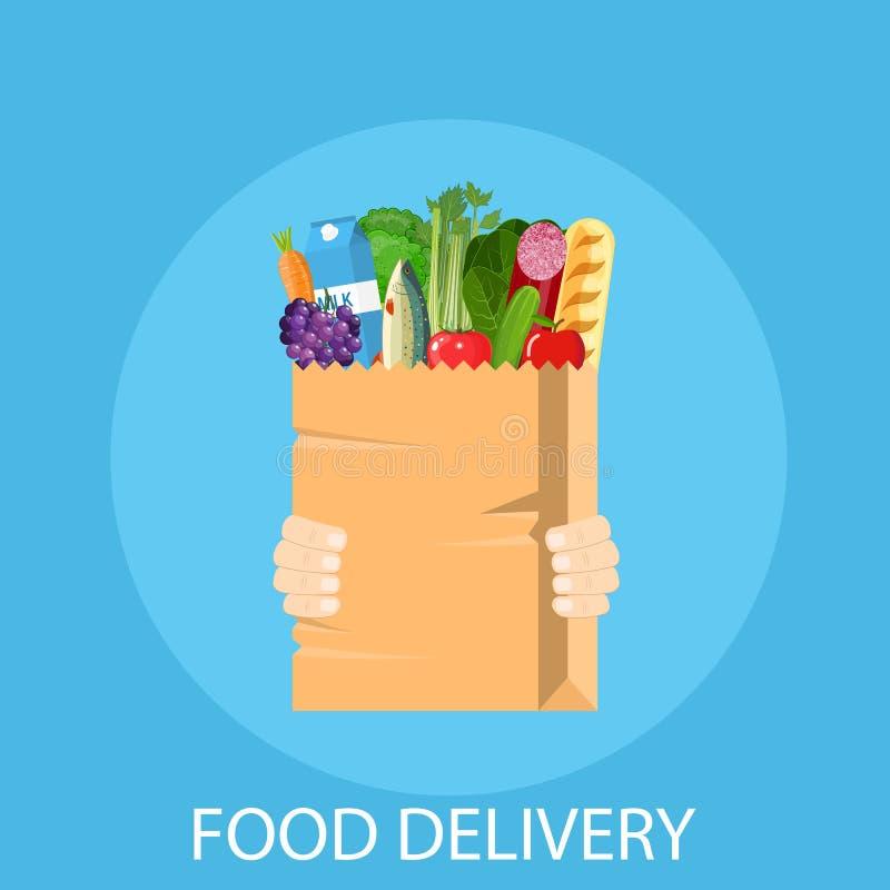Mänskliga händer som rymmer påsen med livsmedelsbutiken stock illustrationer