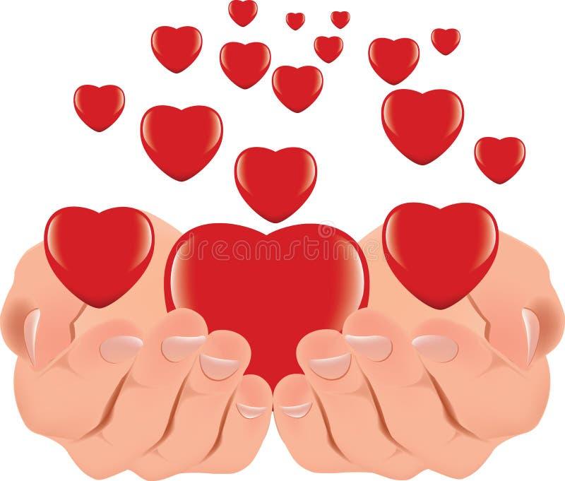 Mänskliga händer stöttar och ger en röd hjärta royaltyfri illustrationer