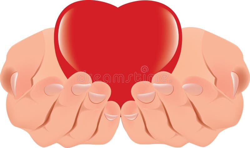 Mänskliga händer stöttar och ger en röd hjärta stock illustrationer
