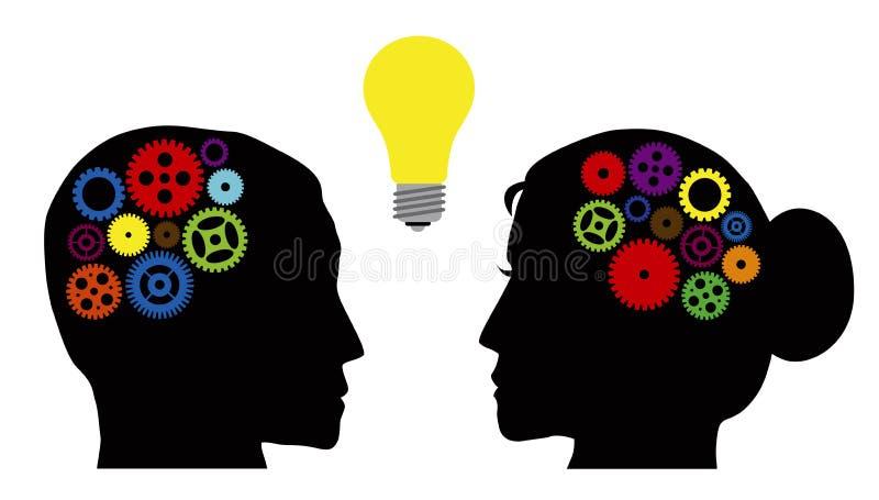 Mänskliga huvud med den färgrika kugghjulillustrationen stock illustrationer