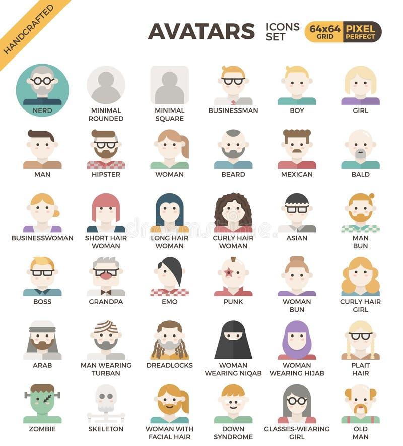 Mänskliga mångfaldavatarsymboler royaltyfri illustrationer