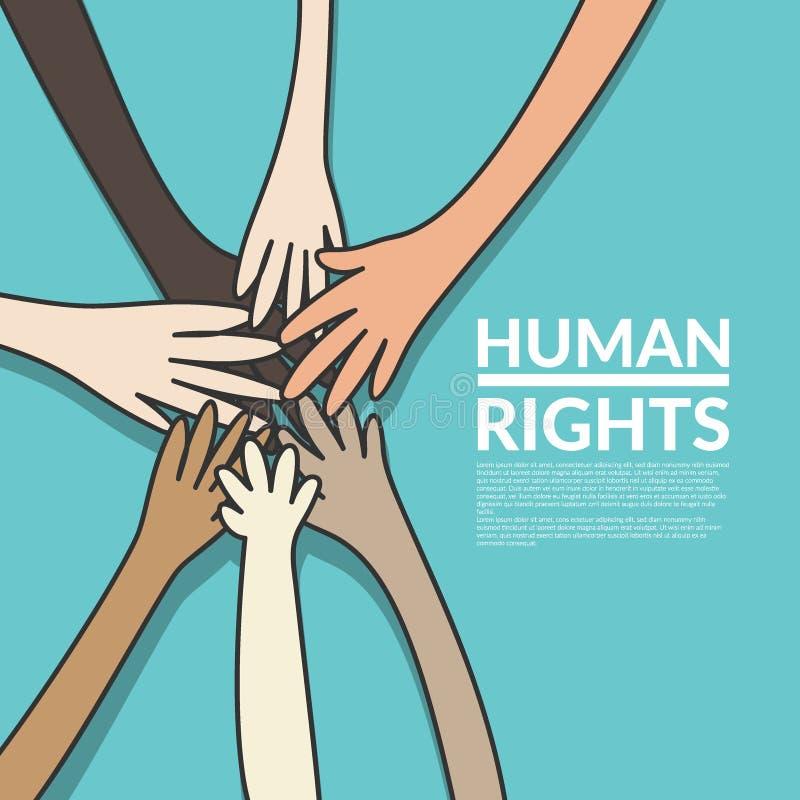 Mänskliga rättigheter och enhetbegrepp det unga mång- nationalitetfolket som sätter deras händer, staplar tillsammans Vektorillus royaltyfri illustrationer