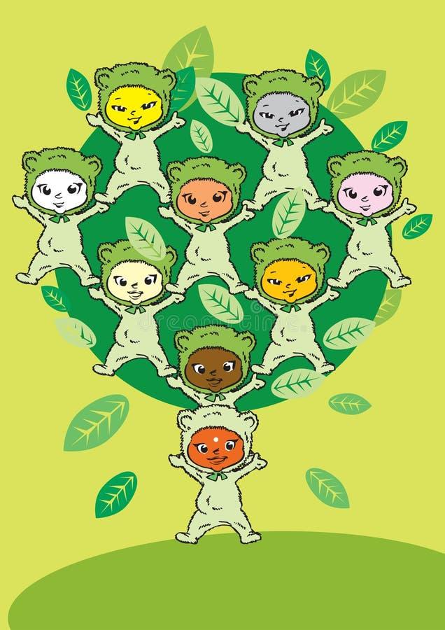mänskliga serievärden för barn stock illustrationer