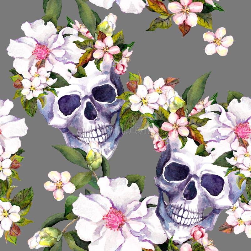Mänskliga skallar, blommor i grungestil seamless modell vattenfärg royaltyfri illustrationer