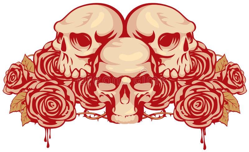 Mänskliga skallar och steg royaltyfri illustrationer