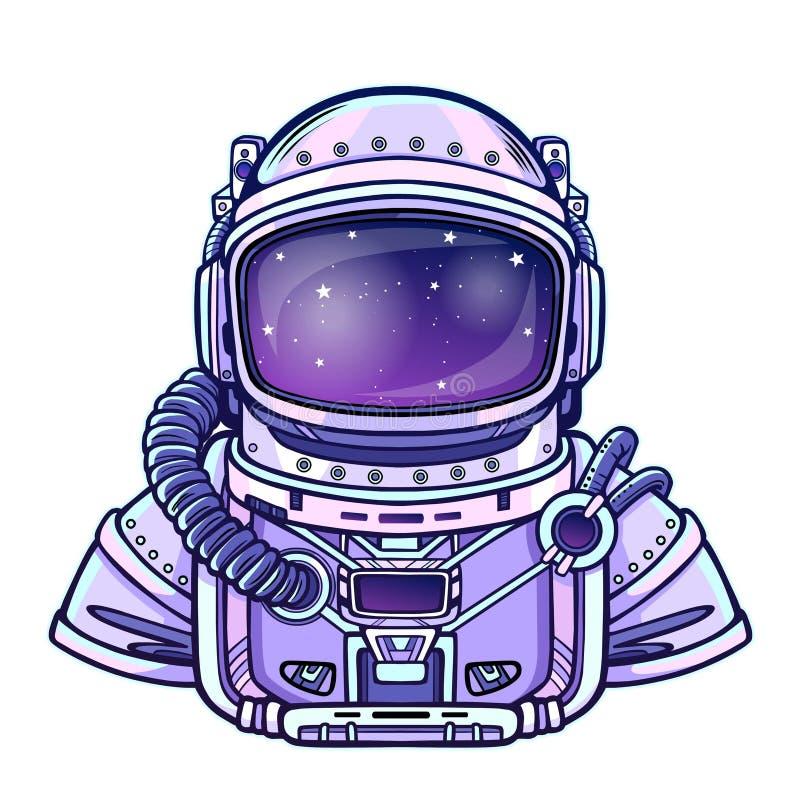 Mänskliga uppfinningar: dräkt för astronaut` s Djupvetenskap stock illustrationer