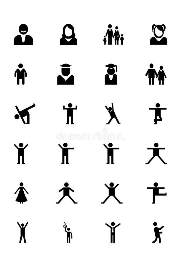 Mänskliga vektorsymboler 6 stock illustrationer