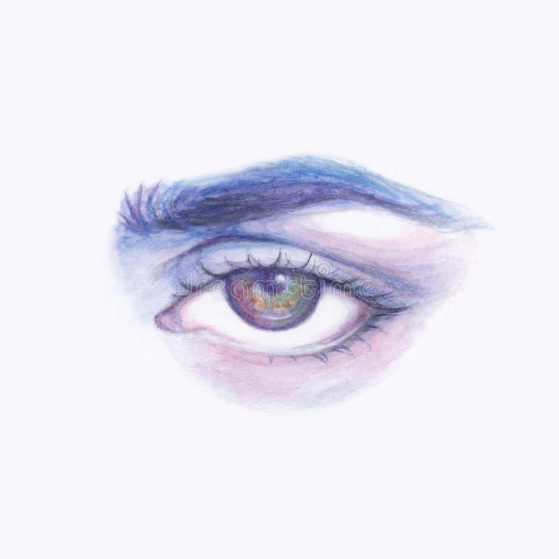 Mänskligt öga för blå purpurfärgad vattenfärg arkivfoto