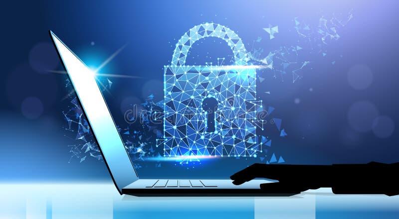 Mänskligt begrepp för avskildhet för skydd för data för handbärbar datorhänglås GDPR Bakgrund för Cybersäkerhetsnätverk skydda so stock illustrationer