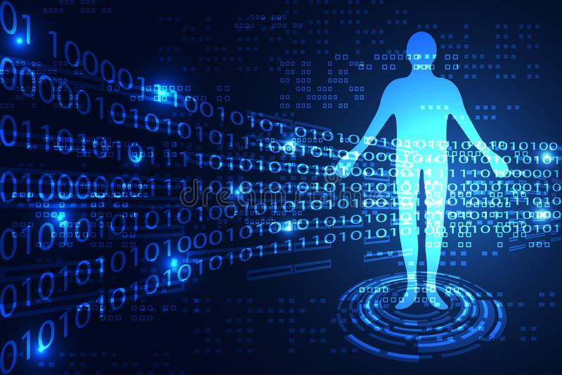Mänskligt binärt för abstrakt teknologivetenskapsbegrepp på blått för hög tech royaltyfri illustrationer