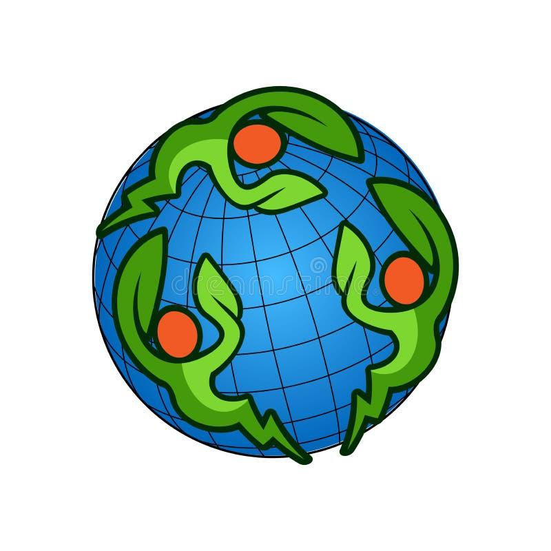 Mänskligt blad med elektriska symboler Logosidor går green återanvänder folk som cirklar världen royaltyfri illustrationer