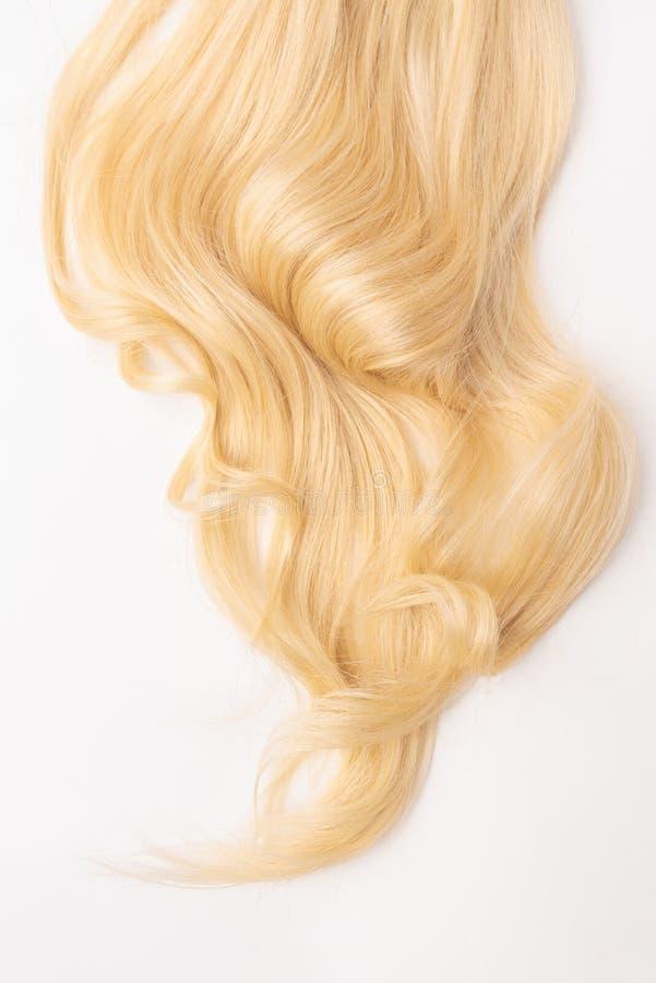 Mänskligt blont krabbt hår på isolerad bakgrund fotografering för bildbyråer