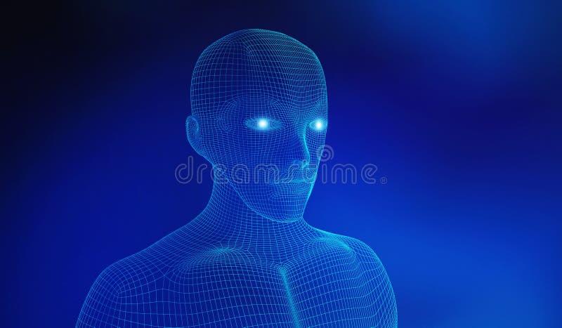 mänskligt Den Wireframe modellen med anslutning fodrar på blå bakgrund royaltyfri illustrationer