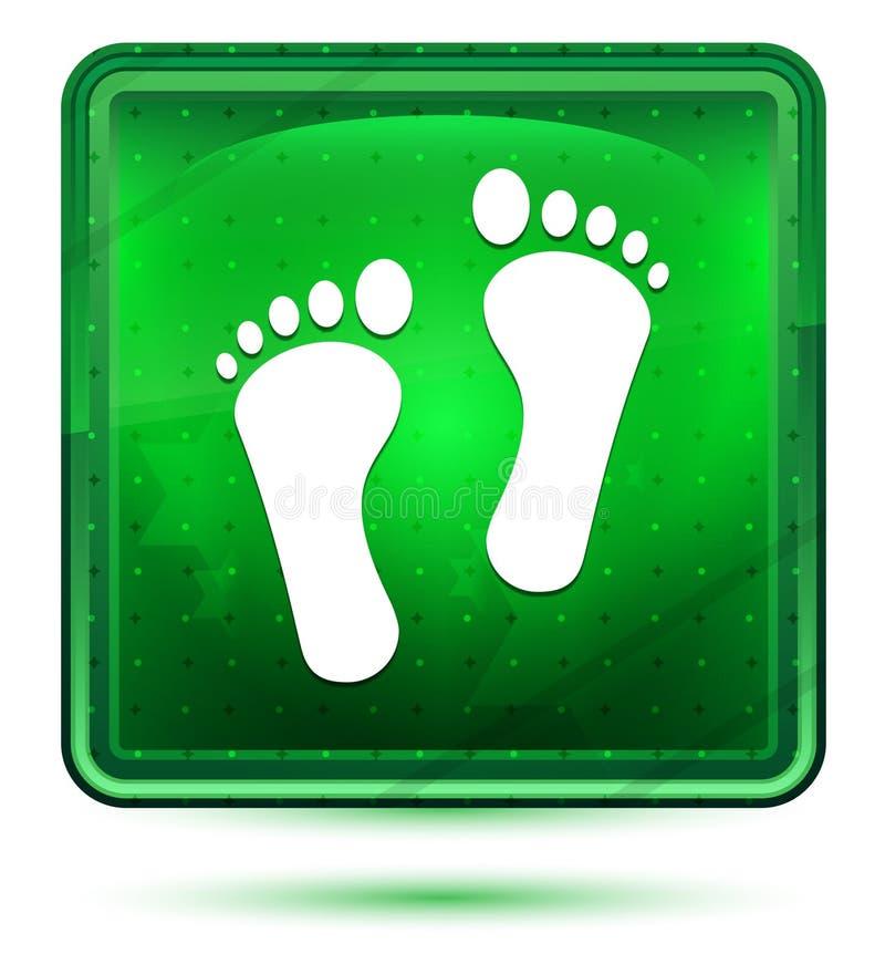 Mänskligt för symbolsneon för två fotspår ljus - grön fyrkantig knapp royaltyfri illustrationer